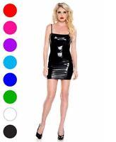 Wet Look Spaghetti Straps Mini Dress - Music Legs 70786