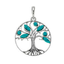 Turquoise and Sterling Silver Tree of Life Pendant