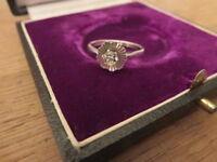 Schöner 925 Silber Ring Zirkonia Wie Diamant Solitär signiert HB Blüte Drehbar