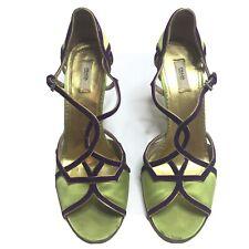 PRADA Heels Green Purple Silk Suede Fairy Women's 37.5  7.5