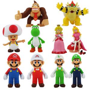 New Super Mario Bros Luigi Yoshi Princess Peach Toad Wario Bowser Action Figures
