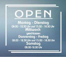 Open   Öffnungszeiten Geschäftszeiten Fenster Aufkleber