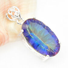 Unique Gift Super Huge oval Rainbow Mystic Topaz Gems Silver Necklace Pendants