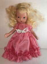 "Vintage Story Book Doll Nancy Ann Pink Dress Blonde Hair 5.5"" Tall"