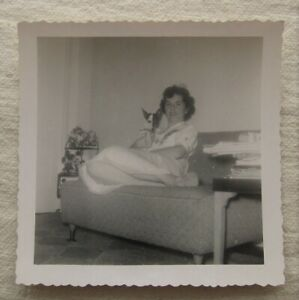 Vintage Photo*Woman w/ Dog Sitting on Couch* Retro*Black & White*Two Color Face