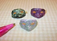 Miniature Glitter Masks (3), for DOLLHOUSE Halloween Masquerade Party 1:12