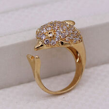 New Dolphin Crystal 18K Gold Plated Ring Fashion Women Lady Jewelry Open Size
