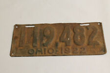 VINTAGE ANTIQUE 1922 OHIO LICENSE PLATE TAG