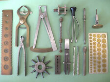 A SELECTION OF VINTAGE TOOLS FROM A RETIRED WATCHMAKERS WORKSHOP.