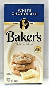 Baker's Premium White Chocolate Baking Bar 4 oz Bakers