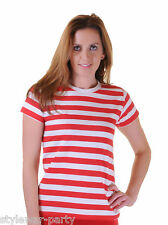 Ladies Christmas Stripped Shirt Fancy Dress short Sleeve Cotton Women's T-shirts
