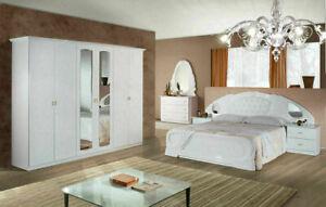LORY LUX- Komplettes- italienisches Schlafzimmer-Set 6-tlg. in Weiss-Hochglanz