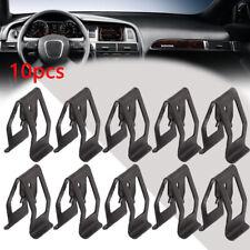 10pcs Universal Car Front Console Dash Dashboard Metal Retainer Accessory Black