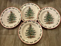 "Spode Christmas Tree~Holly~Set of 4 Dinner Plates 10.5"" New with Tags Red Rim"