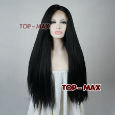 Basic Daily Use Black Wavy 24 Inches Long Women Lace Front Party Full Hair Wigs