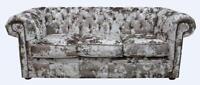 Chesterfield 3 Seater Lustro Charm Crushed Velvet Fabric Sofa Settee