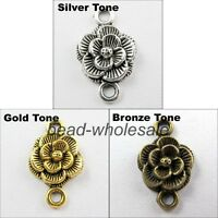 Wholesale Lots 30 pcs Tibetan Silver Rose Flower Charms Connector Findings 20mm