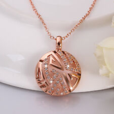 Classic 18K Rose Gold Filled Hollow CZ Crystal Round Chain Necklace