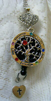 Tree of LIfe Heart Cross ID Badge Name Tag Key Card Holder Reel Necklace Lanyard