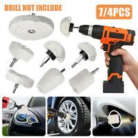 4X Soft Felt Car Polishing Buffing Pads Mop Wheel Kit Set for Drill Rotary Tool