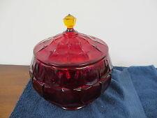 VINTAGE GLASS BISCUIT COOKIE JAR AMBERENA LARGE RUBY RED