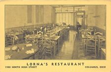 E38/ Columbus Ohio Roadside Postcard c1940s Lorna's Restaurant Interior