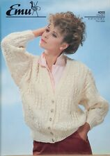 "Emu Knitting Pattern Cardigan Jacket V Neck Chunky Textured 32-38"" Vintage 4055"