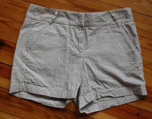 J. Crew Factory 2 Brown Cotton Seersucker Stripe Shorts 81616