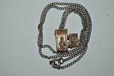 Vintage Silver Plated OUTHOUSE Funny Man on Toilet & Newspaper Necklace Gag Gift