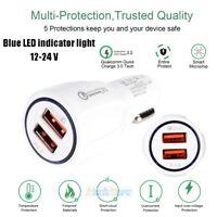 12V-24V QC3.0 Dual USB 3.1A Fast Car Charger w/ LED For iPhone Samsung HTC LG