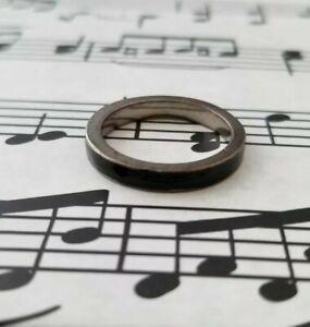 Classic Black Enamel Mens Ring Grey Tone Fashion Rings Size 8 Unisex Band Modern