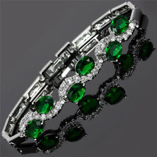 Schmuck Jewelry Fashion Oval Cut Green Emerald Tennis Statement Bracelet