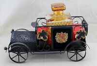 """Vintage Metal Car with 5"""" Amber Glass Royal Craft Scotch Bottle Decanter"""
