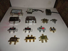 LOT OF 14 ASSORTED - COAXIAL SPLITTERS COMBINERS - TV CABLE GAMES SATELLITE ETC