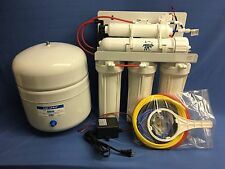 RO 80gpd 5 Stage Booster Pump Reverse Osmosis System Water Filter Tank White H2O