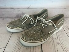 Sperry Top Sider Womens 7 M Gray Leopard Canvas Boat Deck Shoes 9771643 62e