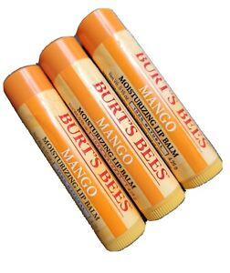3x Burt's Bees Moisturizing Beeswax Lip Balm Mango 100% Natural