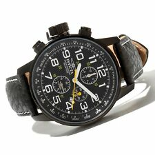 Invicta Men's Black Stainless Steel Lefty Force Chrono Leather Quartz Watch NEW