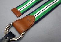 NWT $68 Polo Ralph Lauren Grosgrain Leather Belt Mens Green Navy Reversible NEW