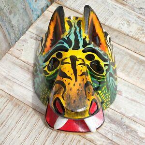 Mexican Wooden Folk Art Animal Mask LARGE - Wild Cat Multicolour