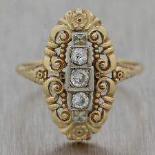 1920's Antique Art Deco 14k Yellow & White Gold 0.25ctw Diamond Ring