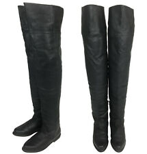 Vintage 80s Pleaser Black Leather Thigh High Over The Knee Riding Boots 7- 7.5