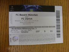 17/08/2011 Ticket: Bayern Munich v FC Zurich [Champions League] (folded). Thanks