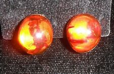 VINTAGE BALTIC AMBER BUTTON EARRINGS w/ STERLING SILVER CLIP-BACKS