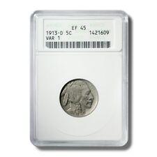 United States Buffalo Nickel 5c 1913D Anacs EF45 Variety 1