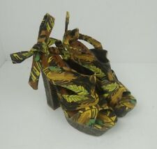 NEXT Runway Collection Womens Sandals Block Heel Size 5 Hessian Strappy Leaves