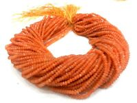 """1 Strand Fanta Garnet Chalcedony Rondelle Faceted 3-4mm 13"""" Gemstone Beads"""