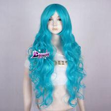 85cm Aqua Blue Long Curly Hair Women Lolita Anime Party Cosplay Wig + Cap
