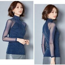Women Lace Mesh Pleated Shirt Long Sleeve Stand Collor Slim Shiny Blouse Casual