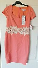 PAPER DOLLS Pink & White Embroider Floral Bodycon Party Dress Size UK 10 BNWT